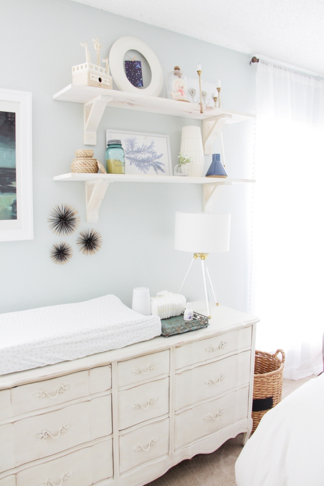 Maegan Johnson NurseryBedroom Tour, Changing table, Dresser as a Chaning table, Nursery Interior Design, Modern Nursery Design, Coastal Nursery Design, Mid century Nursery Design, Blue N