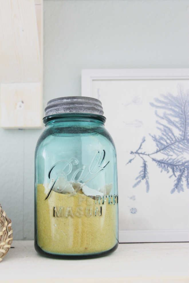 Maegan Johnson NurseryBedroom Tour, Coastal Nursery, Vintage Blue Mason Jar, Shells
