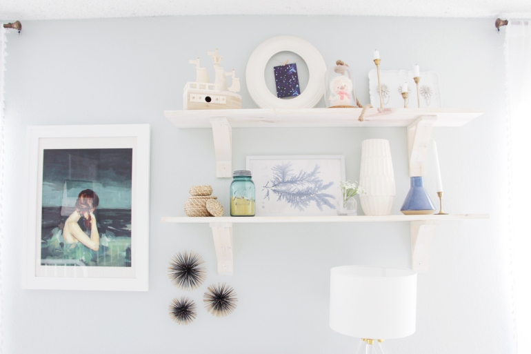 Maegan Johnson NurseryBedroom Tour, Coastal Shelves, White Washed Shelves, , Modern Nursery Design, Coastal Nursery Design, Mid century Nursery Design, Blue Nursery