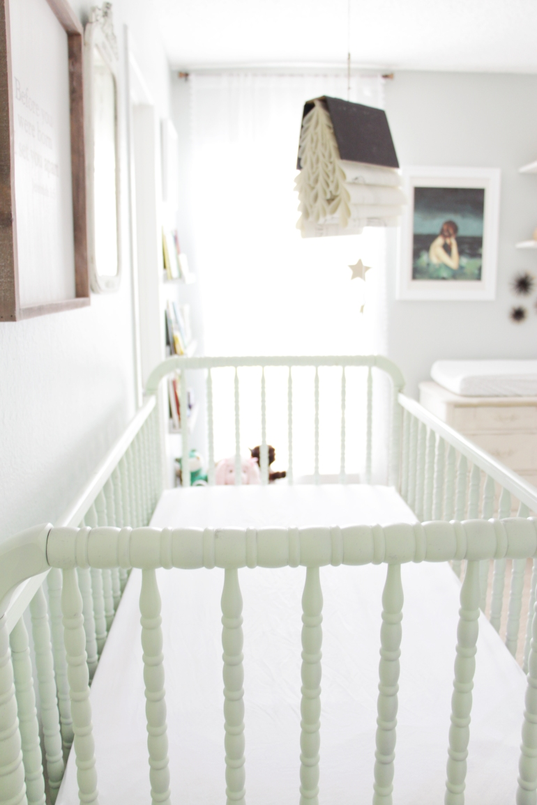 Maegan Johnson NurseryBedroom Tour, Green Jenny Lind Crib, Book Mobile, Modern Nursery Design, Coastal Nursery Design, Mid century Nursery Design, Blue Nursery