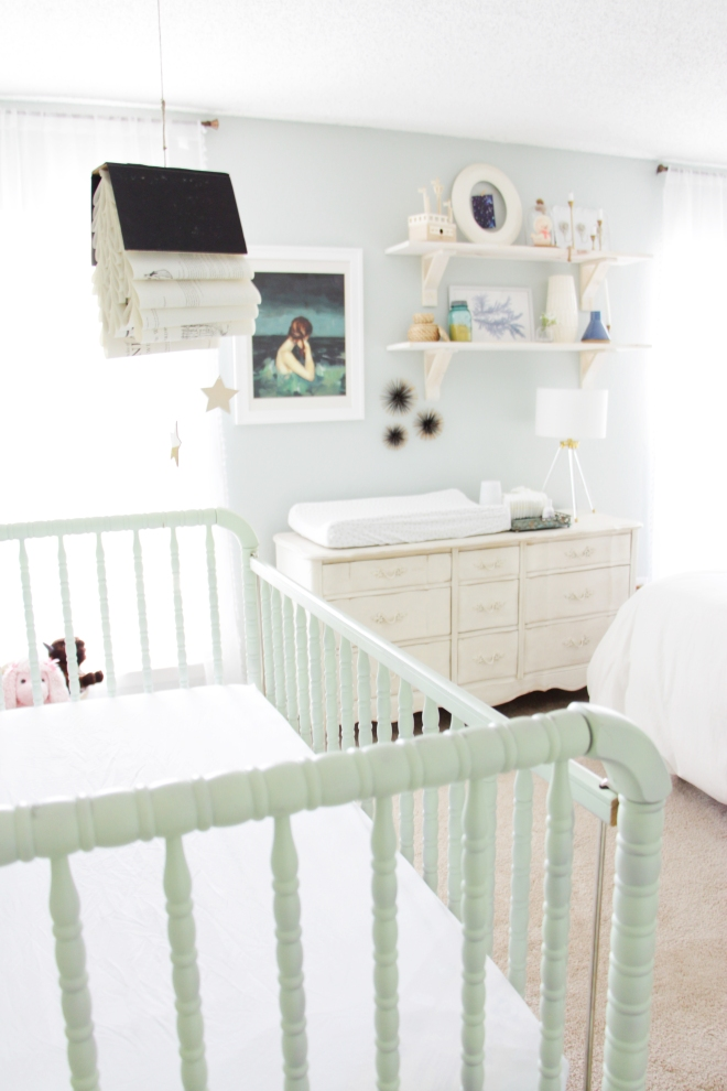Maegan Johnson NurseryBedroom Tour, Green Jenny Lind Crib, Modern Nursery Design, Coastal Nursery Design, Mid century Nursery Design, Blue Nursery