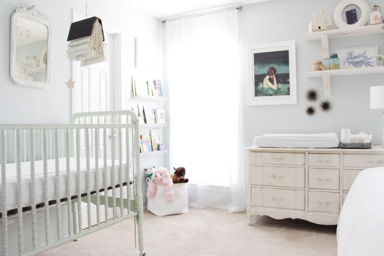 Maegan Johnson NurseryBedroom Tour, Reading Nook and Jenny Lind Crib, Modern Nursery Design, Coastal Nursery Design, Mid century Nursery Design, Blue Nursery