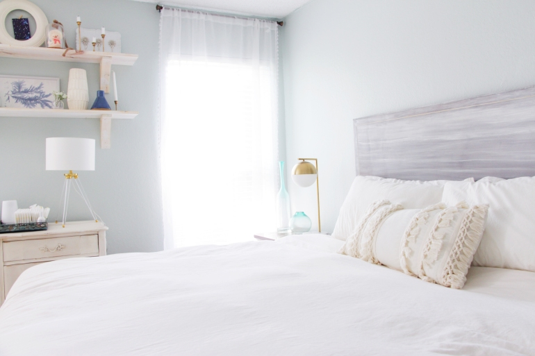 Maegan Johnson NurseryBedroom Tour, White Bedding, Nursery Interior Design, Modern Nursery Design, Coastal Nursery Design, Mid century Nursery Design, Blue Nursery