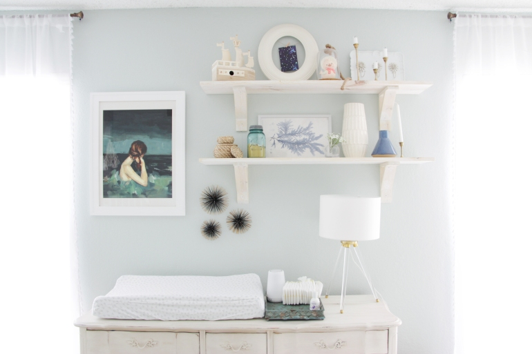 Maegan Johnson NurseryBedroom Tour, White Washed Shelves, Modern Nursery Design, Coastal Nursery Design, Mid century Nursery Design, Blue Nursery
